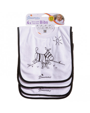DREAMBABY® TERRY CLOTH PULL-OVER BIBS JUNGLE 4 PACK