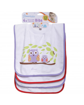 DREAMBABY® TERRY CLOTH PULL-OVER BIBS -OWL & WHALES