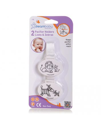 LION AND ZEBRA PACIFIER HOLDER 2 PACK