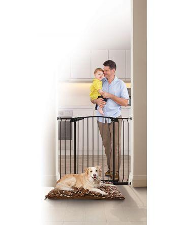 ZOE EXTRA-TALL & EXTRA-WIDE HALLWAY AUTO-CLOSE PET SECURITY GATE- BLACK
