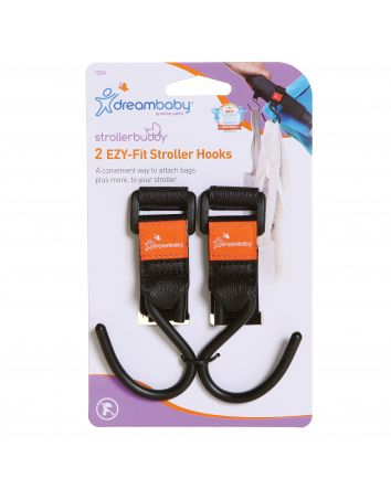 STROLLERBUDDY® EZY-FIT STROLLER HOOKS 2 PACK - BLACK