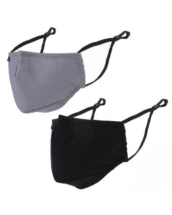 REUSABLE FACE MASKS 2PK - ADULT - BLACK + GREY