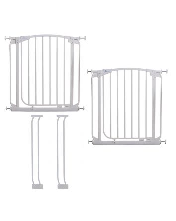 CHELSEA WHITE SAFETY GATE & EXTENSION SET (2 GATES 2 EXTENSIONS)