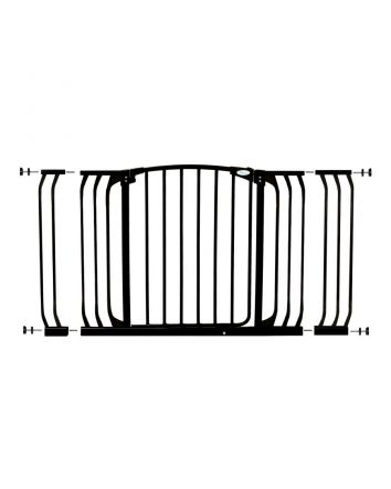 CHELSEA XTRA-WIDE BLACK HALLWAY SECURITY GATE & EXTENSION SET (1 GATE 2 EXTENSIONS)