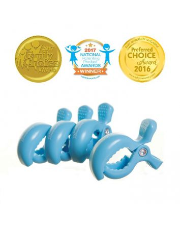 STROLLERBUDDY® STROLLER CLIPS 4 PACK - BLUE