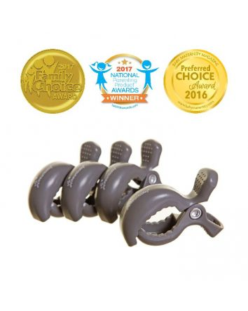 STROLLERBUDDY® STROLLER CLIPS 4 PACK - GREY