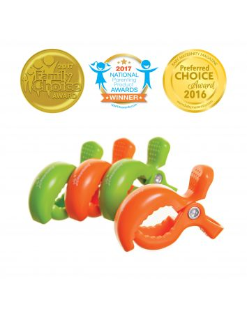 STROLLERBUDDY® STROLLER CLIPS 4 PACK - GREY/ORANGE