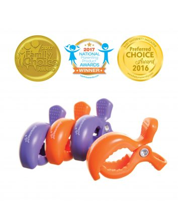 STROLLERBUDDY® STROLLER CLIPS 4 PACK - PURPLE/ORANGE