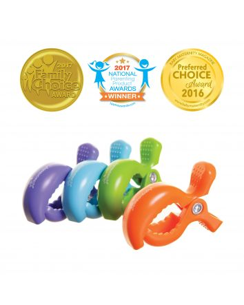 STROLLERBUDDY® STROLLER CLIPS 4 PACK - BLUE/ORANGE/PURPLE/GREEN