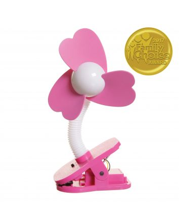 STROLLER FAN WHITE WITH PINK FOAM